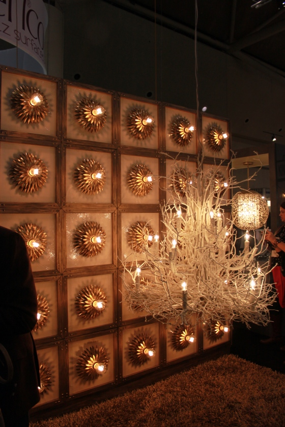 This was absolutely the coolest lighting display at the show. By Living Lighting on King. Flush mounted fixtures with a sunburst surround repeated installed on a vertical wall. Ingenious.