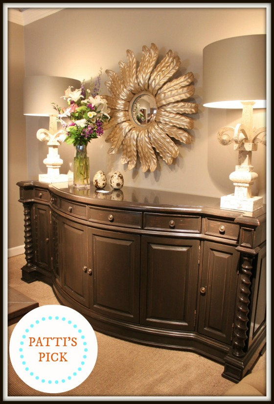 How beautiful is the graceful curve of this credenza at Lorts Furniture? I'm still on a gray kick!