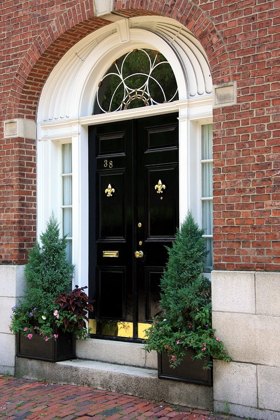 These glossy black double front doors make a striking contrast with the white trim and brass kick plates and Fleur de Lis door knockers.