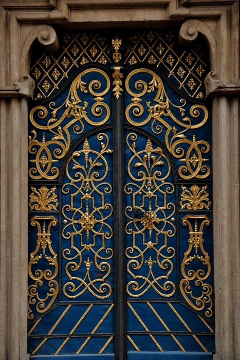 navy and gold doors