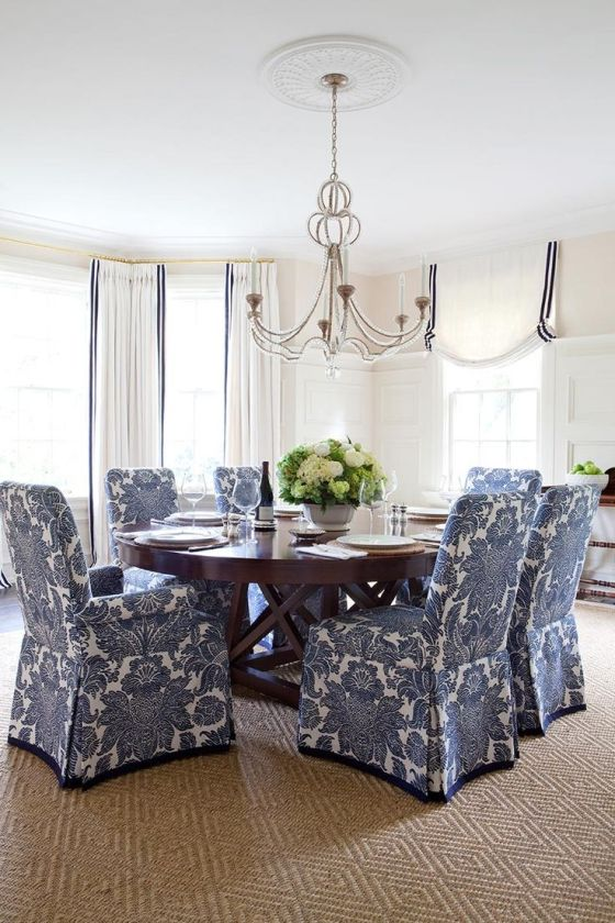 blue and white dining chairs