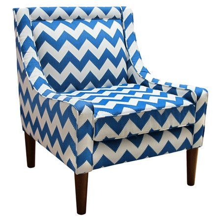 blue and white chevron chair