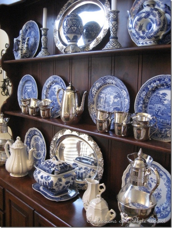 blue and white china display