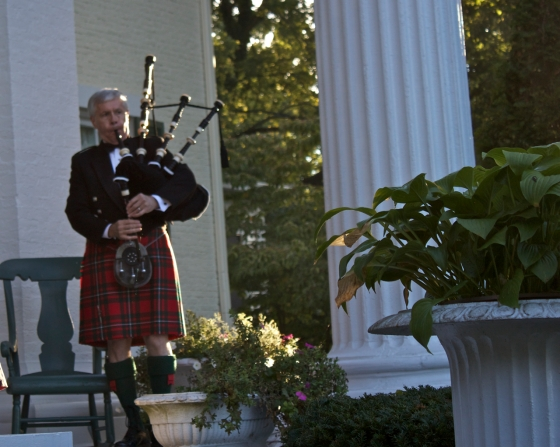 We arrive to the sound of a live bag-piper. Actually the sound could be heard for miles as we heard it well before the drive up the long driveway to the stately location.