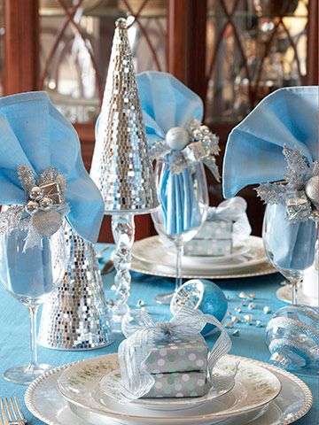 Icy Blue holiday table
