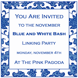 The Pink Pagoda Blue and White Bash November button