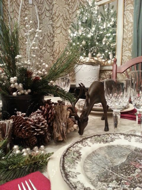 White brown Holiday table
