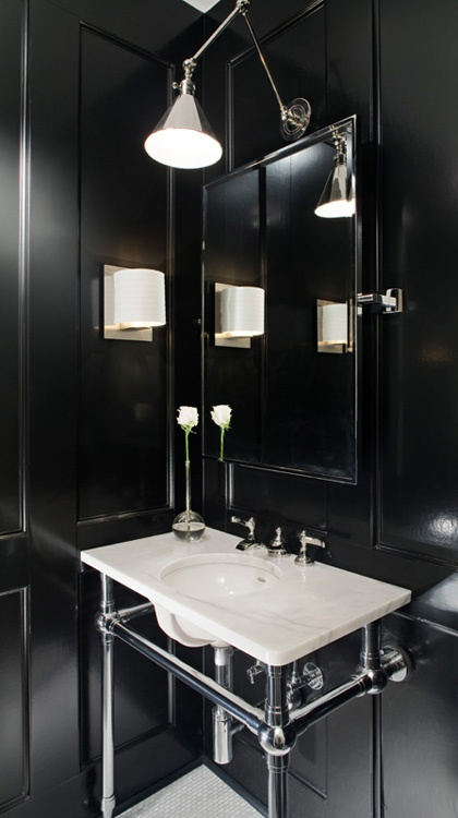 Black andwhite powder room