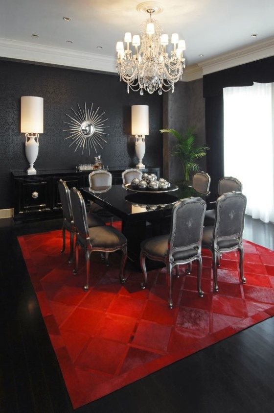 Red Black And White Dining Room