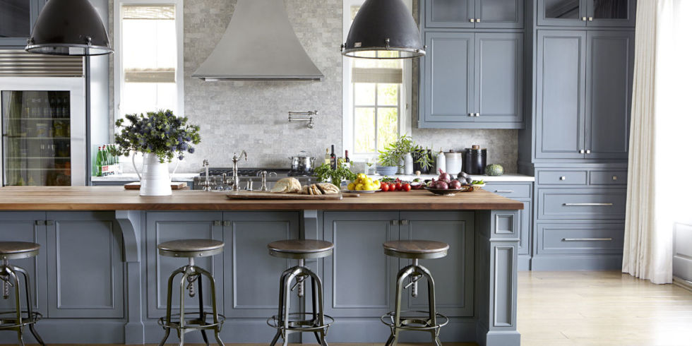 Gray Kitchen Cabinets With Cherry Wood Floors