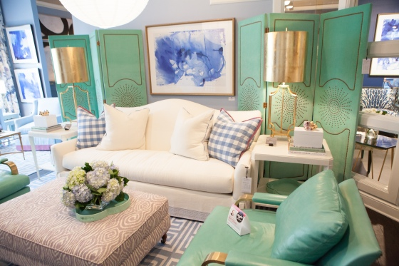 Blues and Greens designed by Tobi Fairley greet you in the CRLaine Showroom during this spring's HPMKT.