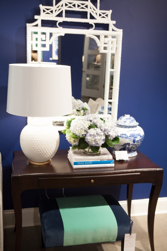 Another lovely vignette by Tobi Fairley on display in the CRLaine Showroom during Spring 2015 High Point Furniture Market. BLUE is TRENDING!